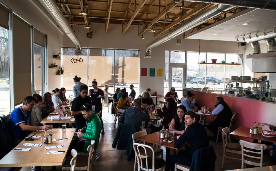 Lennie Mahler  |  The Salt Lake Tribune  Customers pack in for lunch at Sweet Lake Biscuits & Limeade, a new breakfast and lunch spot at 54 West 1700 South in Salt Lake City.