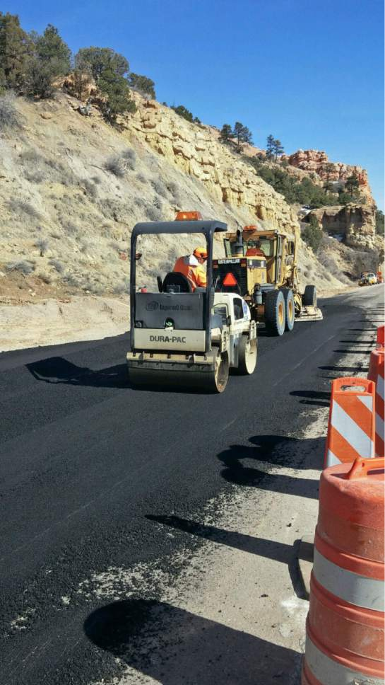 Crews work to stabilize and work around a landslide on State Road 12 near Bryce Canyon National Park. The Utah Transportation Commission approved $3 million in emergency repairs on Friday. The road has had only one lane open in the area. Courtesy Photo | Utah Department of Transportation