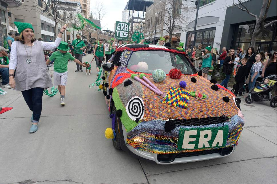 Scott Sommerdorf | The Salt Lake Tribune The 39th annual St. Patrick's Parade makes it's way through the Gateway shopping center, Saturday, March 18, 2017.