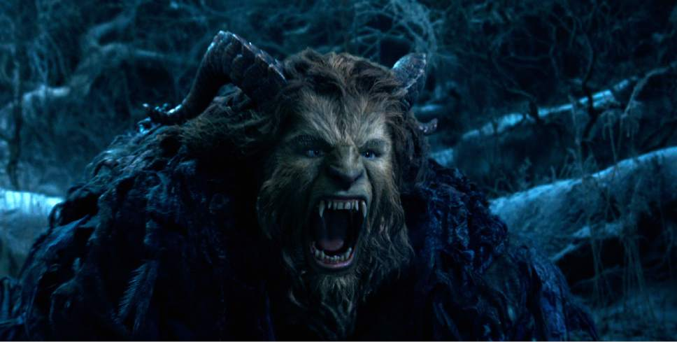 "This image released by Disney shows Dan Stevens as The Beast in a live-action adaptation of the animated classic ""Beauty and the Beast."" (Disney via AP)"