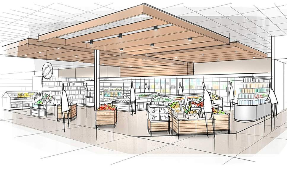 """This image provided by Target Corp. shows a rendering of an area of a redesigned Target store, featuring an """"ease"""" entrance to the grocery section. On Monday, March 20, 2017, Target announced an ambitious redesign of its stores, aimed at helping people who need to dash in for essentials to get out quickly while encouraging those who want to wander the aisles to linger. The new layout will feature a separate entrance for shoppers who can use 10-minute parking to pick up an online order or some essentials. It will also have curved, more circular center aisles, instead of squared-off lines, meant to inspire people to explore. (Target Corp. via AP)"""