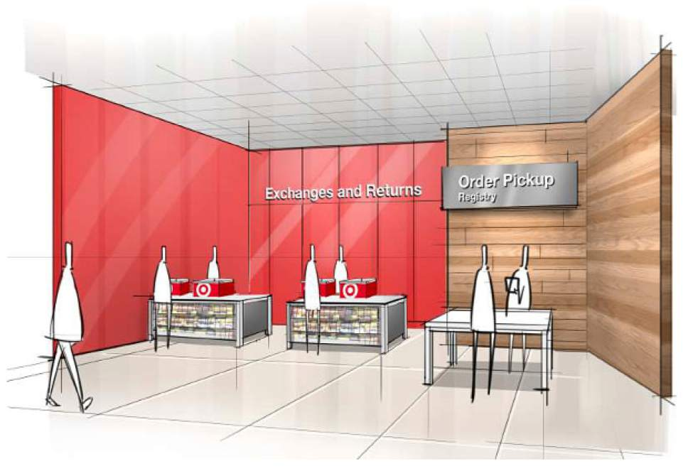 """This image provided by Target Corp. shows a rendering of an area of a redesigned Target store, featuring an """"ease"""" entrance to the Exchange/Returns and Order Pickup sections of the store. On Monday, March 20, 2017, Target announced an ambitious redesign of its stores, aimed at helping people who need to dash in for essentials to get out quickly while encouraging those who want to wander the aisles to linger. (Target Corp. via AP)"""