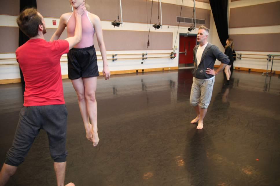 """Courtesy photo  The University of Utah's School of Dance Gala will be held March 23-25 and March 30-April 1 at the Marriott Center for Dance on campus. Pictured, rehearsal for an excerpt from """"MiddleSexGorge"""" by Stephen Petronio."""