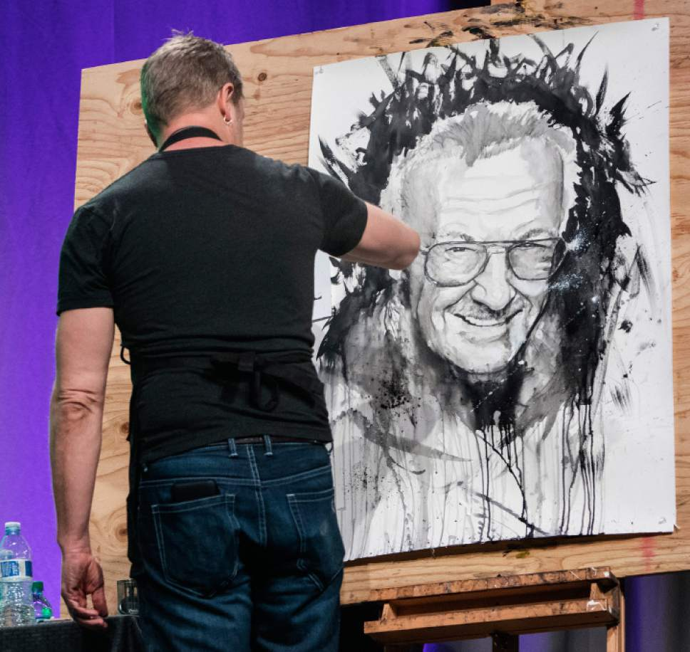 Rick Egan  |  The Salt Lake Tribune  Artist Josh Prior paints a picture of Stan Lee, at the FanX opening, at The Salt Palace Convention Center, Friday, March 17, 2017.
