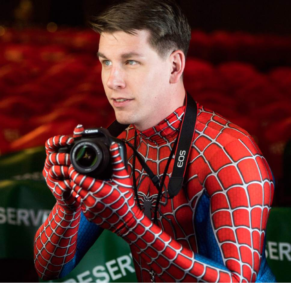 Rick Egan  |  The Salt Lake Tribune  Nicholas Wolfe, Clearfield, as Peter Parker/Spiderman, at the FanX opening, at The Salt Palace Convention Center, Friday, March 17, 2017.