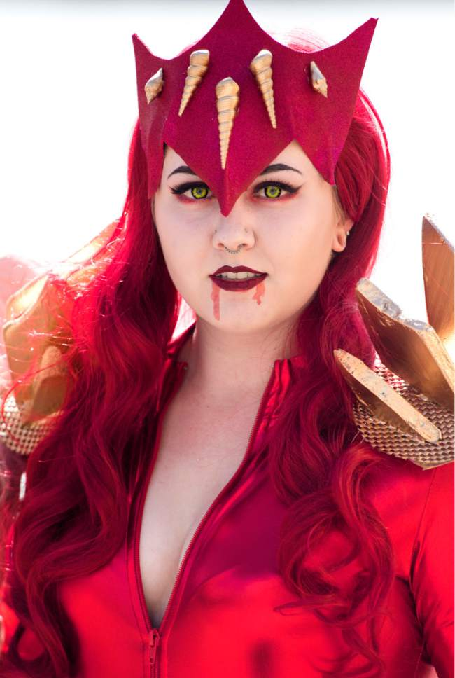 "Rick Egan  |  The Salt Lake Tribune  Alex Vermillion as ""Red Lady Margles"" at the 4th annual FanX,  at The Salt Palace Convention Center, Friday, March 17, 2017."