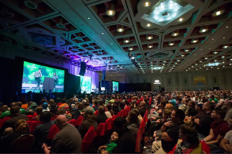 "Rick Egan  |  The Salt Lake Tribune  Fans crowd into the grand ballroom to see ""Weird Al"" Yankovic at the 4th annual FanX,  at The Salt Palace Convention Center, Friday, March 17, 2017."