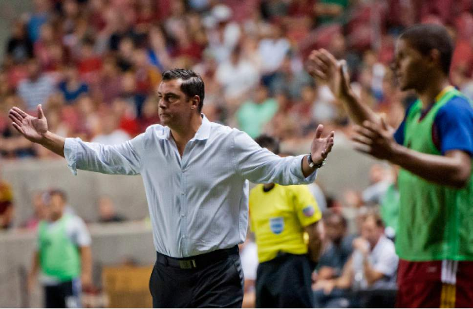 Michael Mangum  |  Special to the Tribune  Real Salt Lake head coach Jeff Cassar and midfielder Omar Holness react as they look for the referee to make a call during the second half of their MLS match against the San Jose Earthquakes at Rio Tinto Stadium in Sandy, Utah on Friday, July 22nd, 2016. The match ended in a 1-1 draw.