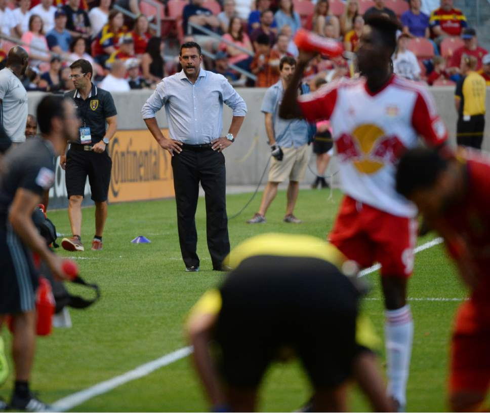 Steve Griffin / The Salt Lake Tribune  An angry Real Salt Lake head coach Jeff Cassar  looks on after New York Red Bulls defender Gideon Baah (3) fouled Real Salt Lake forward Joao Plata (10) during their game at Rio Tinto Stadium in Sandy Wednesday June 22, 2016.