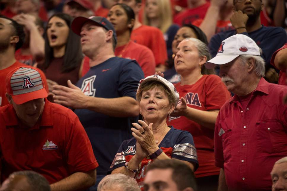 Chris Detrick  |  The Salt Lake Tribune  Arizona fans react after their beat St. Mary's in the NCAA tournament in Salt Lake City on Saturday, March 18, 2017.