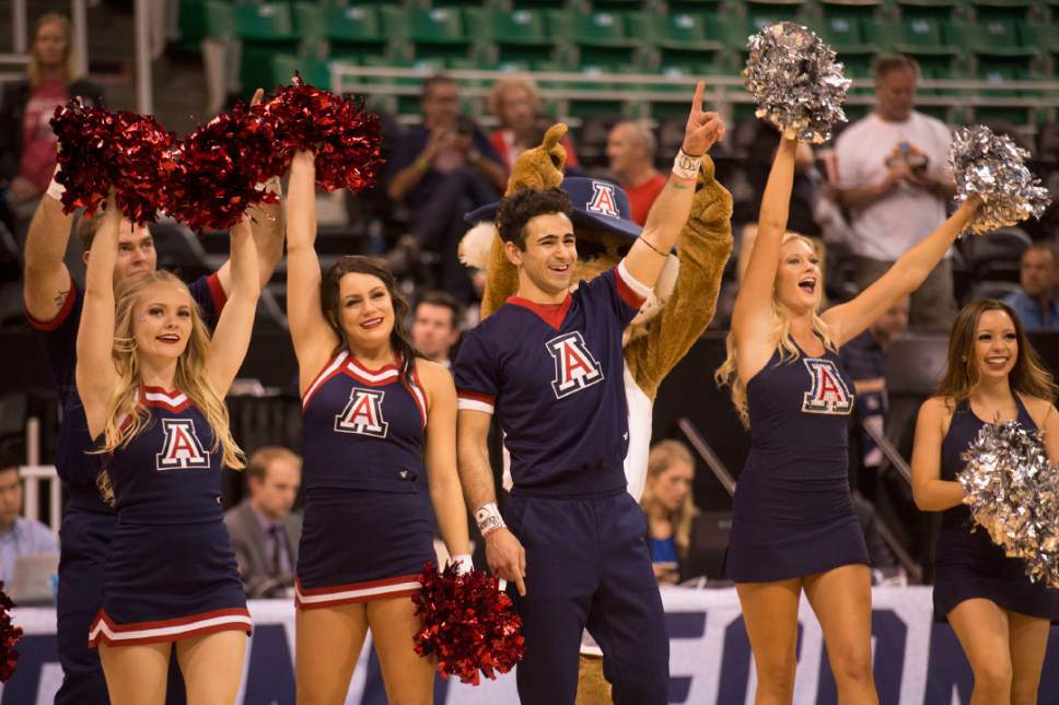 Chris Detrick  |  The Salt Lake Tribune  Arizona cheerleaders celebrate after their team beat St. Mary's in the NCAA tournament in Salt Lake City on Saturday, March 18, 2017.
