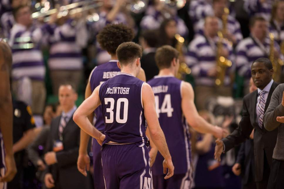 Trent Nelson  |  The Salt Lake Tribune  Northwestern Wildcats guard Bryant McIntosh (30) leaves the court after losing to Gonzaga in the NCAA tournament in Salt Lake City on Saturday, March 18, 2017.