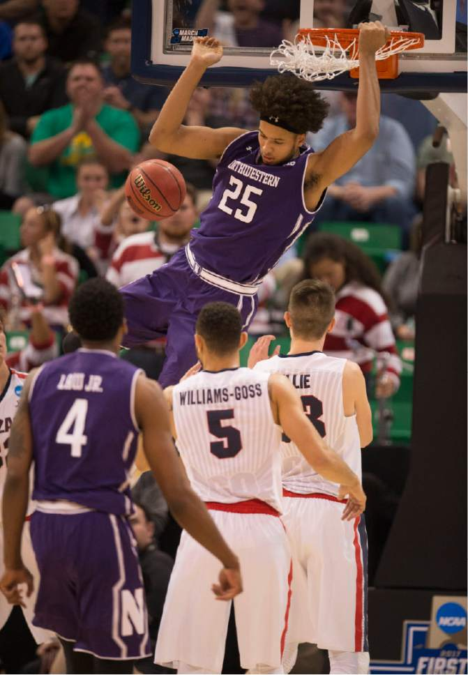 Trent Nelson  |  The Salt Lake Tribune  Northwestern Wildcats center Barret Benson (25) dunks on Gonzaga as the teams face off in the NCAA tournament in Salt Lake City on Saturday, March 18, 2017.