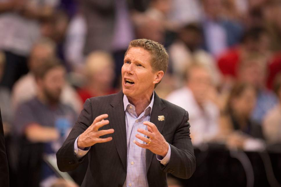 Trent Nelson  |  The Salt Lake Tribune  Gonzaga coach Mark Few yells as his team faces Northwestern in the NCAA tournament in Salt Lake City on Saturday, March 18, 2017.