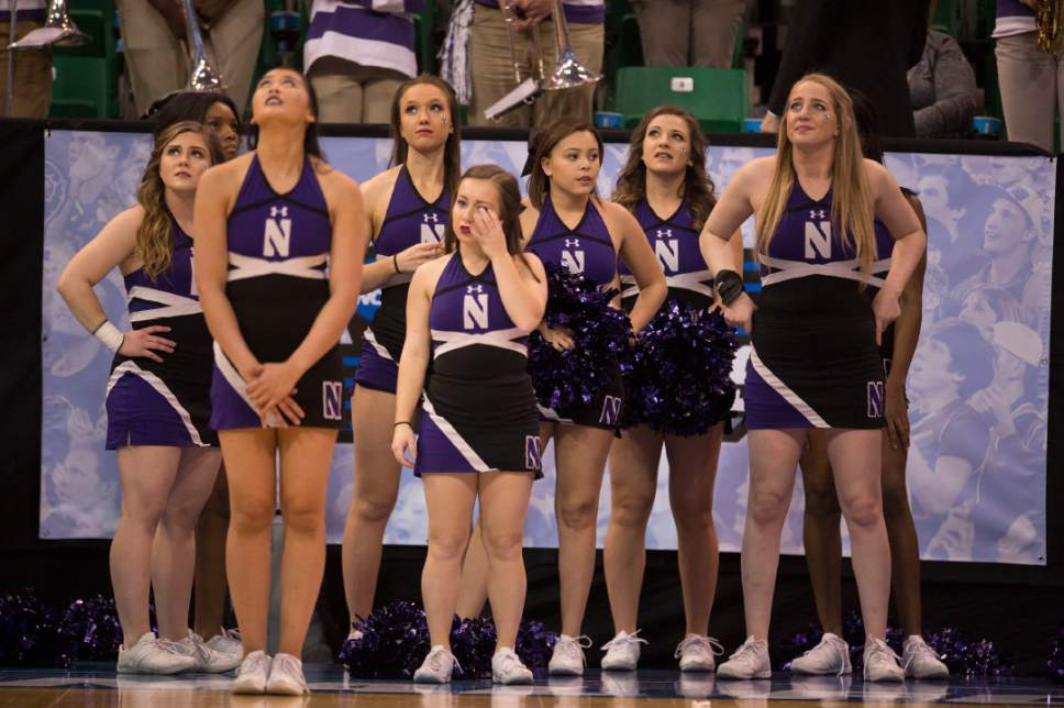 Trent Nelson  |  The Salt Lake Tribune  Northwestern cheerleaders watch as they lose to Gonzaga in the NCAA tournament in Salt Lake City on Saturday, March 18, 2017.