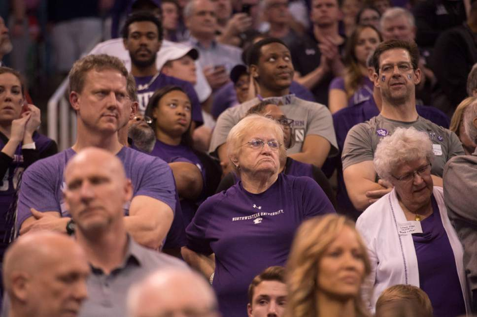 Chris Detrick  |  The Salt Lake Tribune  Northwestern fans react after losing to Gonzaga in the NCAA tournament in Salt Lake City on Saturday, March 18, 2017.