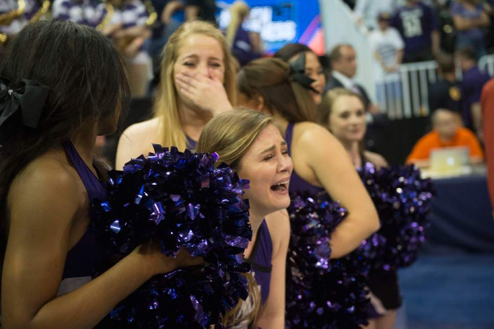 Chris Detrick  |  The Salt Lake Tribune  Northwestern cheerleaders cry after their loses to Gonzaga in the NCAA tournament in Salt Lake City on Saturday, March 18, 2017.