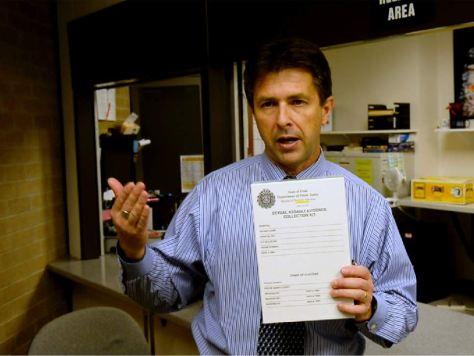 Rick Egan  |  The Salt Lake Tribune  Jay Henry, Utah Department of Public Safety Laboratory Director, talks about the various steps of testing a rape kit. Thursday, January 26, 2017.
