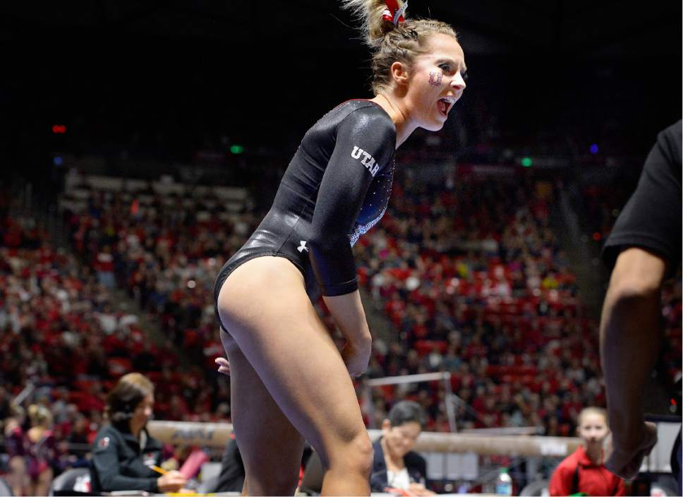 Scott Sommerdorf | The Salt Lake Tribune Utah's MyKayla Skinner reacts after her 9.950, helping Utah to outscore Stanford 197.500 to 196.275, Friday, March 3, 2017.