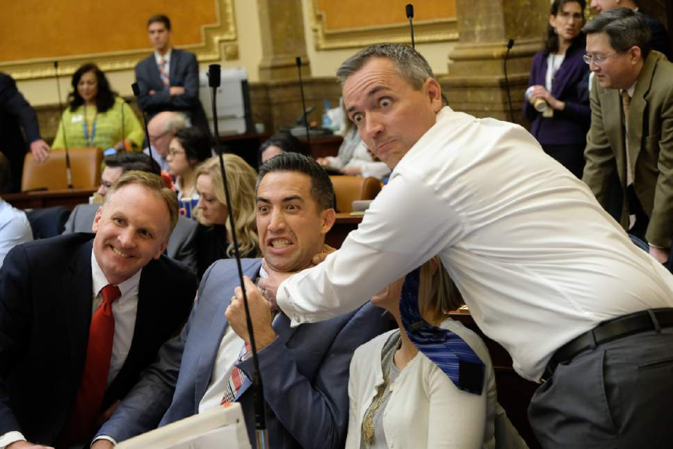 Francisco Kjolseth | Tribune file photo As the final minutes wind down on the 2017 Legislative session things get silly as seen between Reps. Craig Hall, R-West Valley City, Marc Roberts, R-Santaquin, and Daniel McCay, R-Riverton, from left, on Thursday, March 9, 2017.