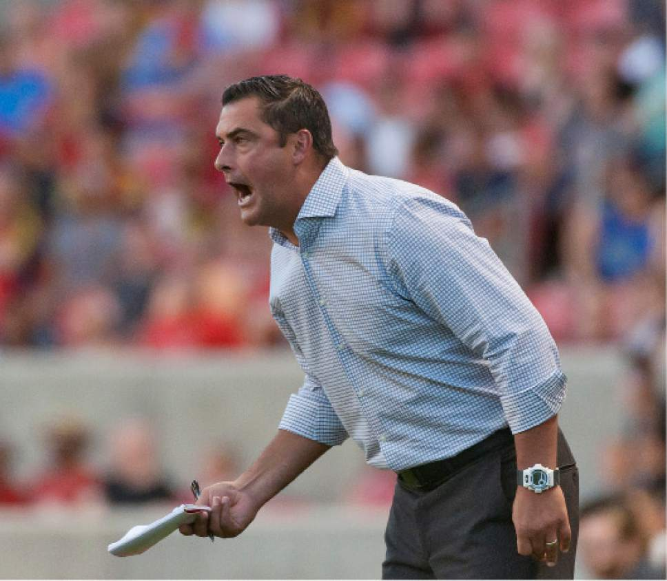 Michael Mangum  |  Special to the Tribune  Real Salt Lake head coach Jeff Cassar yells to his team during their MLS match against the Montreal Impact at Rio Tinto Stadium in Sandy, UT on Saturday, July 9th, 2016.