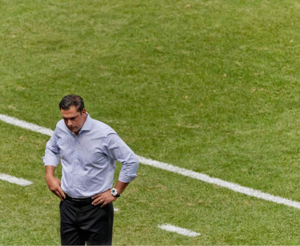 Michael Mangum  |  Special to the Tribune  Real Salt Lake head coach Jeff Cassar turns away from the field momentarily during the second half of their MLS match against the Montreal Impact at Rio Tinto Stadium in Sandy, UT on Saturday, July 9th, 2016. The match ended in a 1-1 draw.