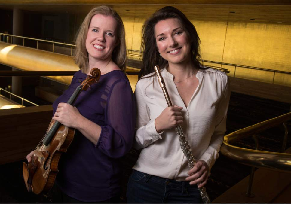 "Leah Hogsten  |  The Salt Lake Tribune Utah Symphony concertmaster Madeline Adkins, left, and principal flutist Mercedes Smith will be featured in performances of Bach's Brandenburg Concerto No. 5 during Utah Symphony's upcoming ""An Evening of Bach"" at Abravanel Hall, March 24-25, 2017."