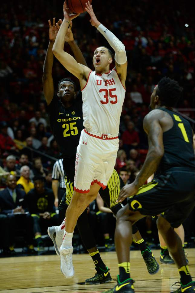 Francisco Kjolseth | The Salt Lake Tribune Utah Utes forward Kyle Kuzma (35) makes his way past Oregon during the first half of the NCAA college basketball game at the Huntsman Center in Salt Lake City, Thursday, Jan. 26, 2017.