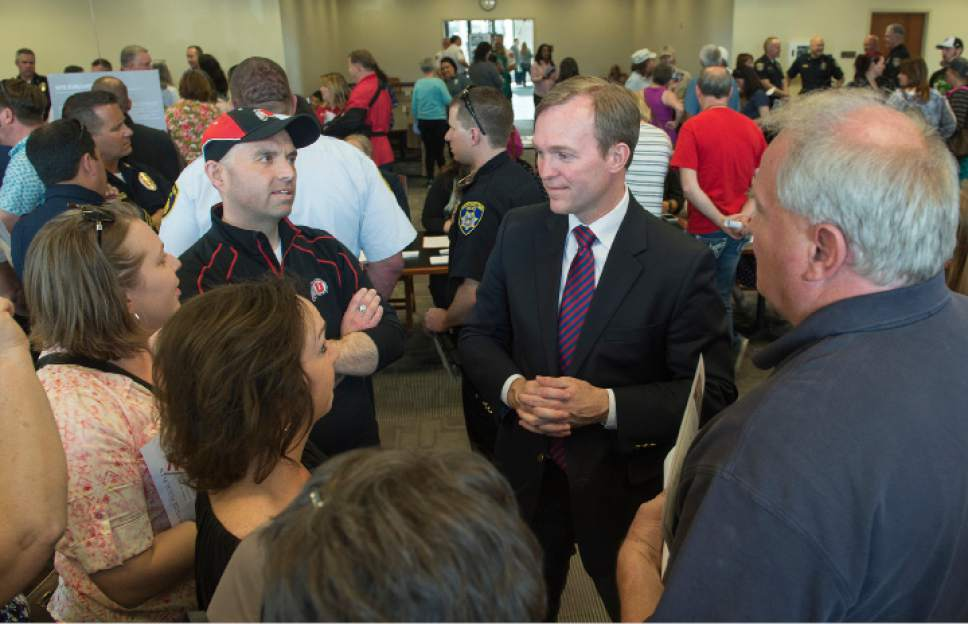 Leah Hogsten  |  The Salt Lake Tribune Salt Lake County Mayor Ben McAdams listens to citizens of West Valley City and South Salt Lake City. Concerned citizens packed the state Capitol's Senate Building cafeteria Saturday, March 18, 2017 during the second of three scheduled opportunities for the public to give feedback on possible shelter sites to Salt Lake County Mayor Ben McAdams and county staff.