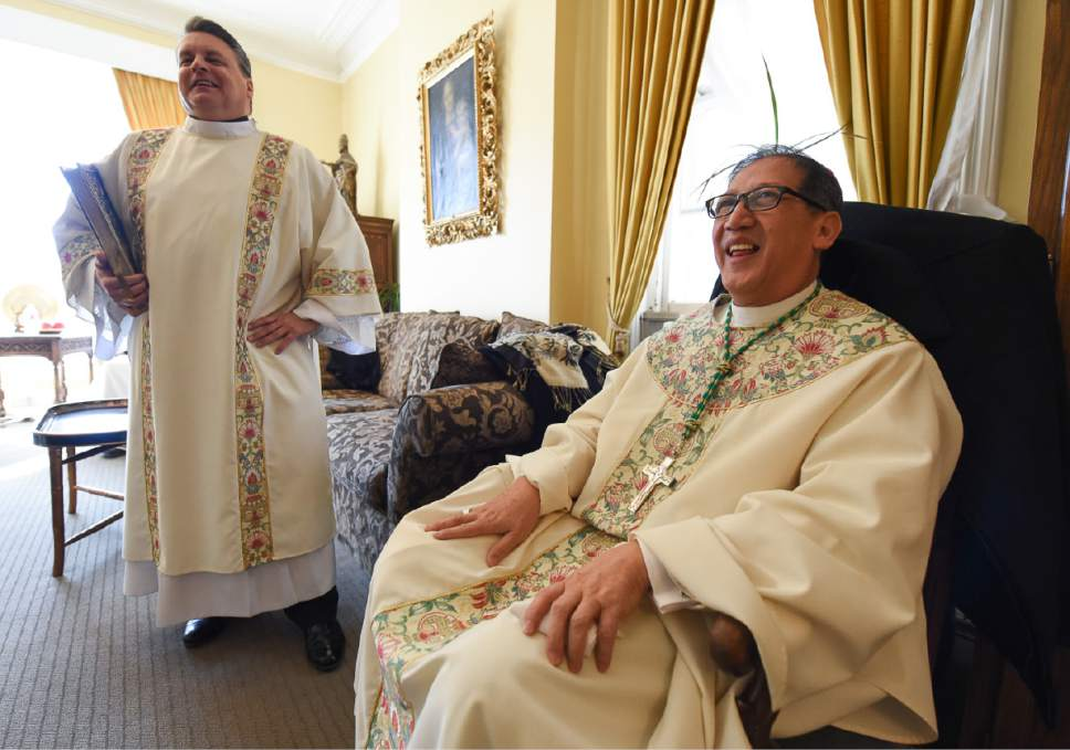 Francisco Kjolseth | The Salt Lake Tribune Deacon John Kranz joins Bishop Oscar A. Solis following the vesting in the Glass Room at Cathedral of the Madeleine moments before installation ceremonies of Solis as the 10th bishop of the Diocese of Salt Lake City.