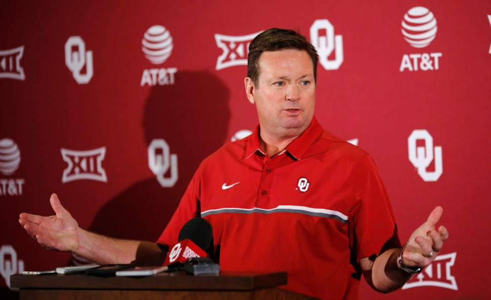 Oklahoma football coach Bob Stoops talks about the upcoming spring football season Monday, March 20, 2017, in Norman, Okla. Baker Mayfield will practice this spring as Oklahoma assesses the fallout from the star quarterback's arrest in Arkansas last month, Stoops said. (Jim Beckel/The Oklahoman via AP)