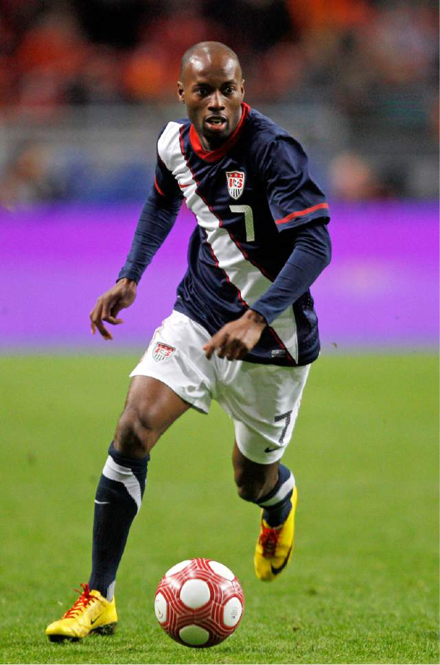 FILE - In this March 3, 2010, file photo, the United States' DaMarcus Beasley dribbles the ball during an international friendly soccer match against the Netherlands at the Arena stadium in Amsterdam, The Netherlands. Beasley, Clint Demspey and Tim Howard have been around with Bruce Arena since the last time the U.S. coach guided the Americans into World Cup qualifying. way back 12 years ago. Now, these three will be counted upon to help lead the Americans in their World Cup qualifier Friday against Honduras in San Jose, Calif. (AP Photo/Bas Czerwinski, File)