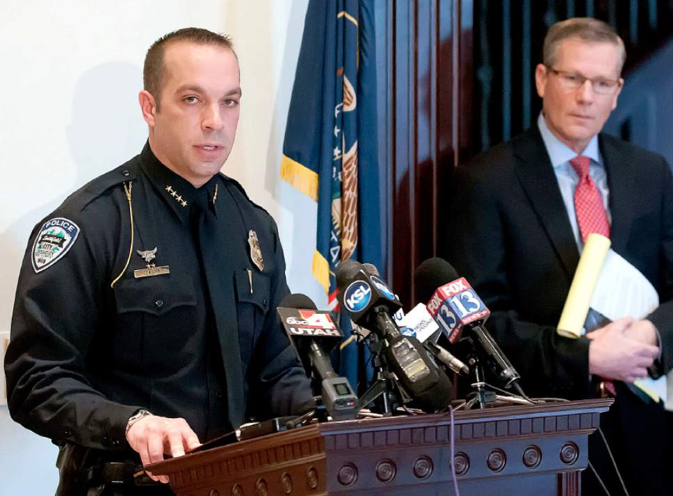 Eli Lucero  |  Herald Journal Smithfield Police Chief Travis Allen speaks at a press conference with Cache County Attorney James Swink on Tuesday in Logan.