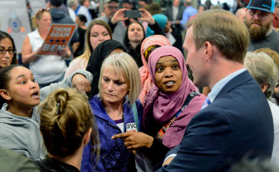 Steve Griffin  |  The Salt Lake Tribune   West Valley City citizens express their concerns about proposed homeless shelters in their city with Salt Lake County Mayor Ben McAdams as they attend an open house on at the Utah Cultural Celebration Center in West Valley City Tuesday March 21, 2017.