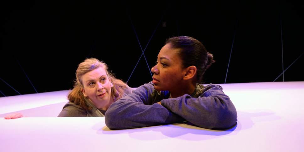 "Al Hartmann  |  The Salt Lake Tribune Colleen Baum, left, and Latoya Cameron in Plan-B Theatre's ""Not One Drop"" by Morag Shepherd."