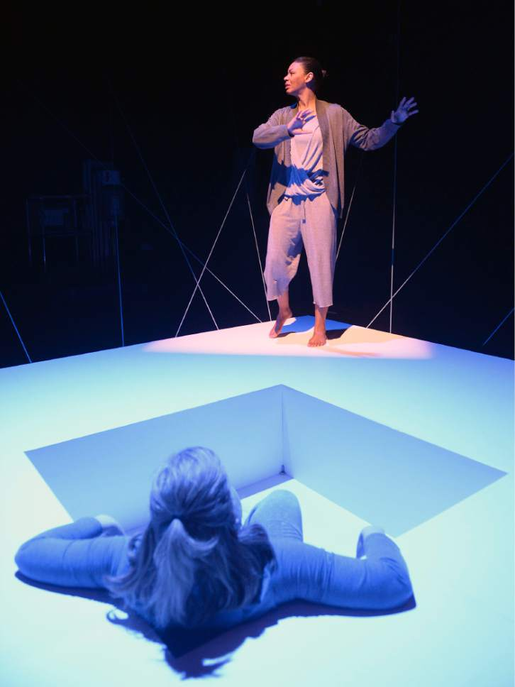 "Al Hartmann  |  The Salt Lake Tribune Colleen Baum, below, and Latoya Cameron in Plan-B Theatre's ""Not One Drop"" by Morag Shepherd."