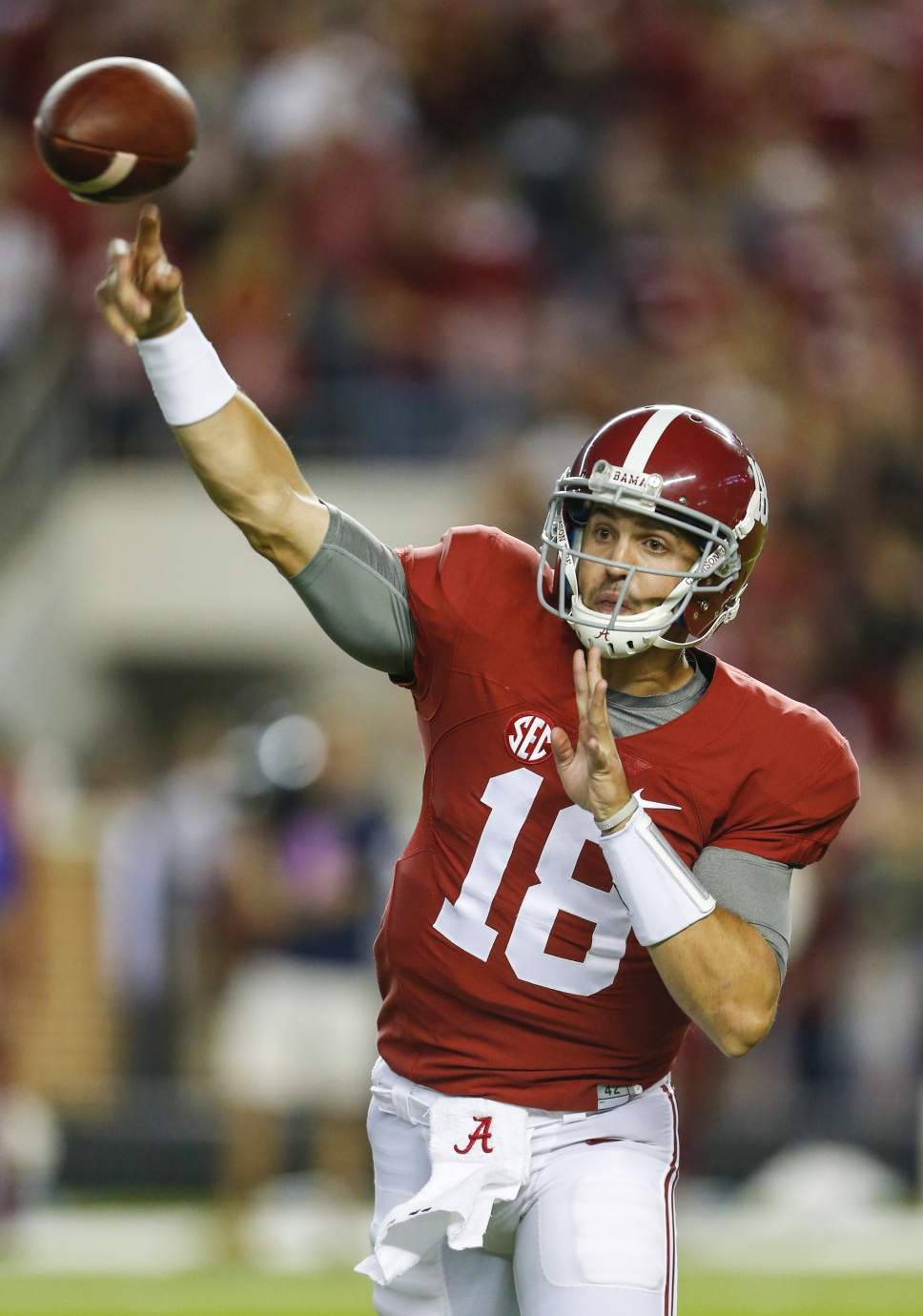 Alabama quarterback Cooper Bateman (18) throws a pass  against Kentucky during the second half of an NCAA college football game, Saturday, Oct. 1, 2016, in Tuscaloosa, Ala. (AP Photo/Butch Dill)