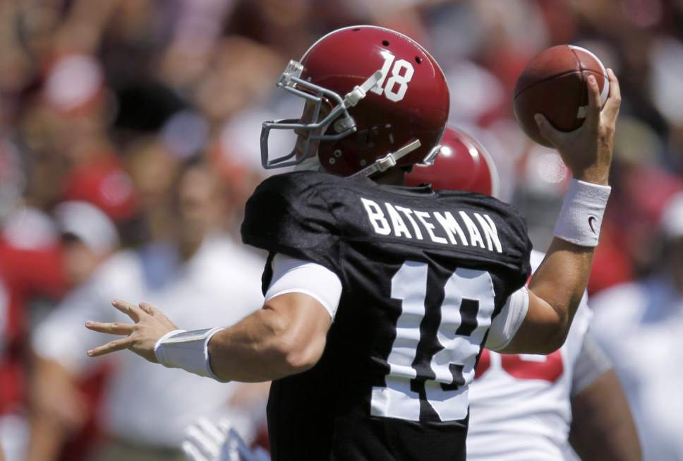 Alabama quarterback Cooper Bateman throws a pass during Alabama's A-Day NCAA college football spring game Saturday, April 19, 2014, in Tuscaloosa, Ala. (AP Photo/Butch Dill)