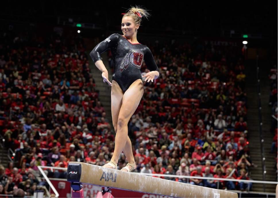 Scott Sommerdorf | The Salt Lake Tribune Utah's MyKayla Skinner during her 9.70 beam routine. Utah outscored Stanford 197.500 to 196.275, Friday, March 3, 2017.