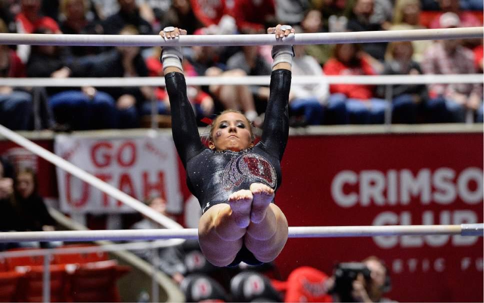 Scott Sommerdorf | The Salt Lake Tribune Utah's MyKayla Skinner during her uneven parallel bars routine, scoring 9.750. Utah outscored Stanford 197.500 to 196.275, Friday, March 3, 2017.