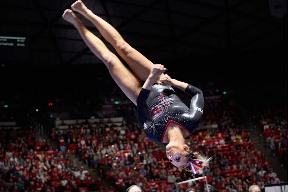 Scott Sommerdorf | The Salt Lake Tribune Utah's MyKayla Skinner spins during her vault, scoring 9.950. Utah outscored Stanford 197.500 to 196.275, Friday, March 3, 2017.