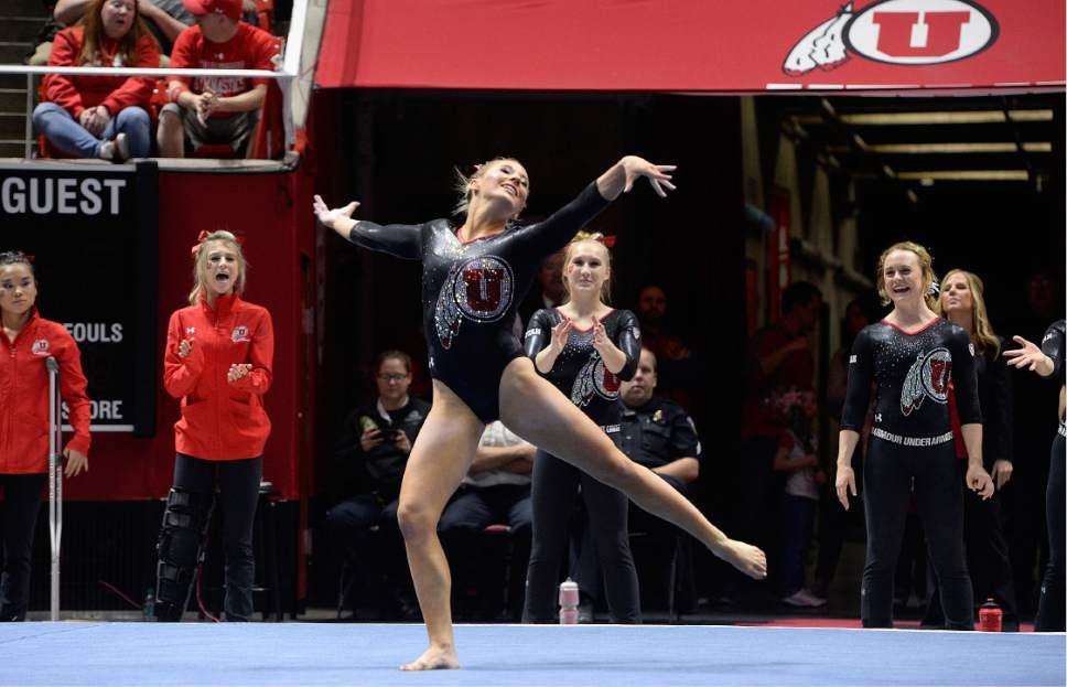 Scott Sommerdorf | The Salt Lake Tribune Utah's MyKayla Skinner during her perfect floor routine scoring a 10.00. Utah outscored Stanford 197.500 to 196.275, Friday, March 3, 2017.