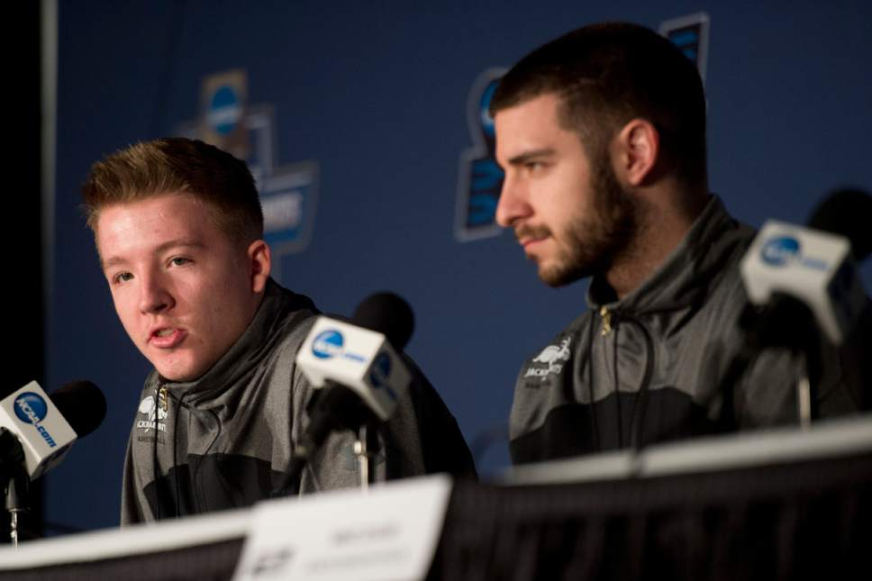 Chris Detrick  |  The Salt Lake Tribune  South Dakota State Jackrabbits guard Reed Tellinghuisen (23) and South Dakota State Jackrabbits guard Michael Orris (50) take questions during South Dakota State's press conference at the NCAA Tournament in Salt Lake City on Wednesday, March 15, 2017.