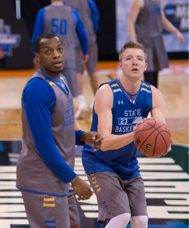 Trent Nelson  |  The Salt Lake Tribune  South Dakota State Jackrabbits guard Chris Howell (3) and South Dakota State Jackrabbits guard Reed Tellinghuisen (23) warm up during South Dakota State's practice at the NCAA Tournament in Salt Lake City on Wednesday, March 15, 2017.