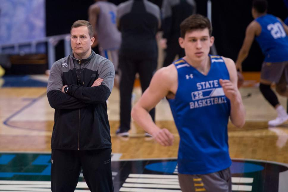 Trent Nelson  |  The Salt Lake Tribune  Coach T.J. Otzelberger watches South Dakota State Jackrabbits forward Adam Dykman (32) and the rest of the team during South Dakota State's practice at the NCAA Tournament in Salt Lake City on Wednesday, March 15, 2017.
