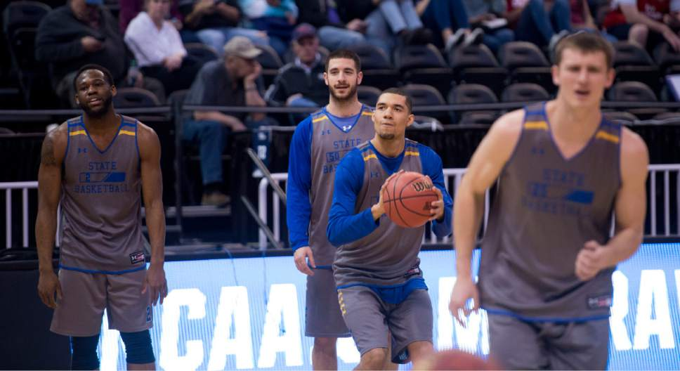 Trent Nelson  |  The Salt Lake Tribune  South Dakota State Jackrabbits guard Skyler Flatten (1) shoots the ball during South Dakota State's practice at the NCAA Tournament in Salt Lake City on Wednesday, March 15, 2017.