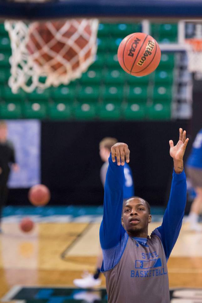 Trent Nelson  |  The Salt Lake Tribune  South Dakota State Jackrabbits guard Chris Howell (3) warms up during South Dakota State's practice at the NCAA Tournament in Salt Lake City on Wednesday, March 15, 2017.