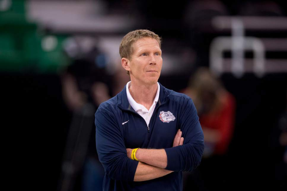 Trent Nelson |  The Salt Lake Tribune  Gonzaga coach Mark Few watches as the team practices during NCAA Tournament in Salt Lake City on Wednesday, March 15, 2017.