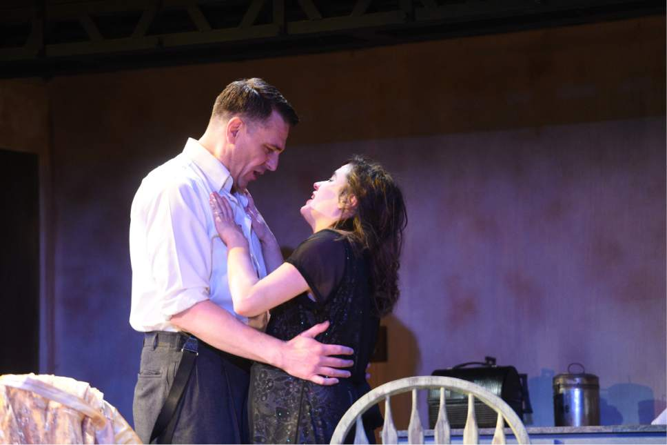"Robert Scott Smith as Stanley and Anne Louise Brings as Stella  in the Grand Theatre's production of a ""A Streetcar Named Desire"" through April 1 at Salt Lake Community College. Courtesy Grand Theatre"