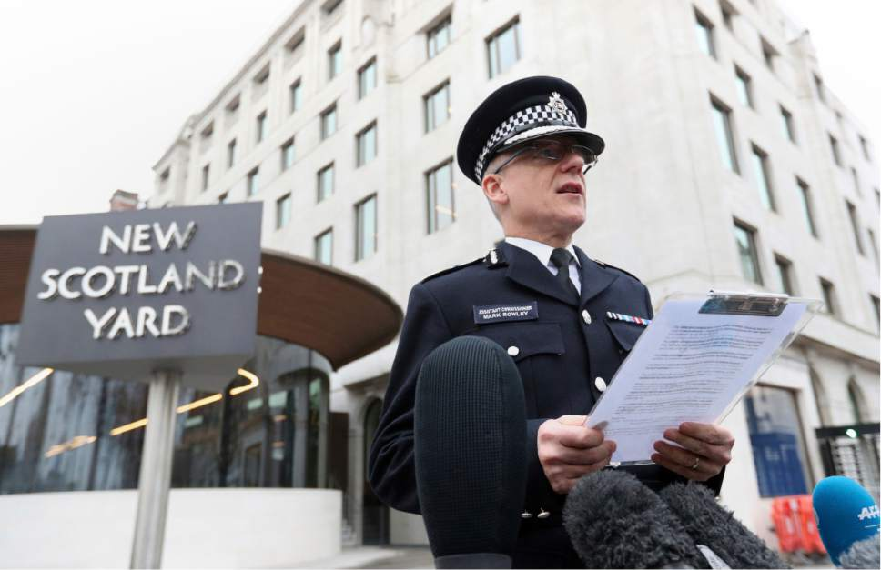 Mark Rowley, Assistant Commissioner for Specialist Operations in the Metropolitan Police, speaks outside Scotland Yard police headquarters in London, Thursday March 23, 2017, the day after a terrorist attack leaving the attacker and four people including a police officer dead outside Parliament on Wednesday. (Jonathan Brady/PA via AP)